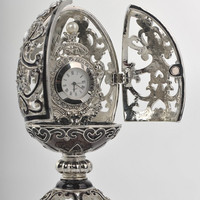 Silver & Black Faberge Egg Trinket Box with a Pearl and a Clock on the Inside Handmade by Keren Kopal Decorated with Swarovski Crystals