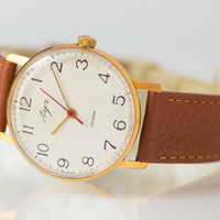 Ultra slim men's watch gold plated watch Ray classic wristwatch simple premium leather strap new
