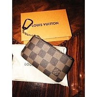 LV Tide brand classic old flower chessboard chain key package Coffee check
