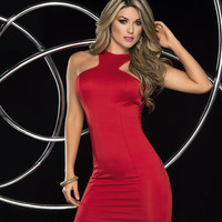 Pure Seduction Slinky Red Mini Dress-Clubwear Dresses