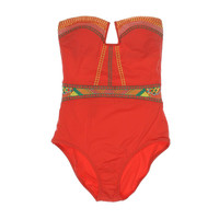 Nanette Lepore Womens Bandeau Embroidered One-Piece Swimsuit