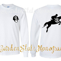 English, Riding, Horses, Equestrian, Horse, Helmet, Jumping, Long Sleeve, Custom, Monogram, Tee Shirt, T-Shirt, Shirt, Monogrammed, Tee