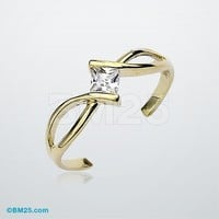 10K Gold Square Solitaire Toe Ring
