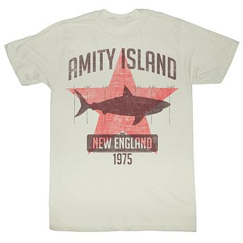 Jaws T-Shirt Amity Island New England 1975 25ft Natural Tee