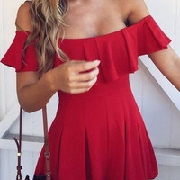 Leaf Off Shoulder Strapless Skirt