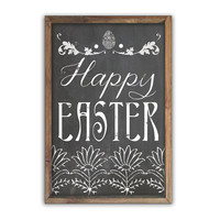 Happy Easter chalkboard look wooden sign framed out in wood  Easter wall art inspirational art Chalkboard typography Spring wall decor