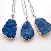 Silver Edged Blue Druzy Pendant Drusy Necklace Silver Dipped Stone Druzy Jewelry Royal Blue Big Bright Blue Stone Pendant Crystal Neon