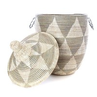 Extra Large Grey Triangle Basket with Lid