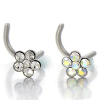 Stainless Steel Flower Screw Nose Rings Studs with Cubic Zirconia Body Jewelry Piercing(Colorful)