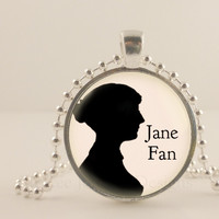 "Jane Austen, Pride and Prejudice, Jane Fan. 1"" glass and metal Pendant necklace Jewelry."