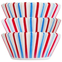 Red and Blue Stripe Baking Cups
