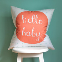 NEW hello baby coral mint pillow cover (exclusive to iviebaby)