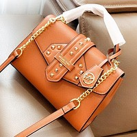 Hipgirls MK New fashion rivets leather shoulder bag crossbody bag Brown