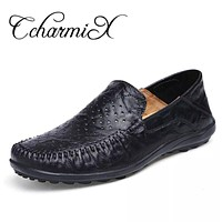 Summer Cool  Men Flats Driving Shoes Men Casual Shoes Black Leather Moccasins Home