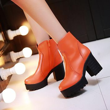 Ankle Boots Chunky Heel Pumps High Heels Women Shoes Fall Winter