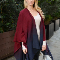 Ombre Sunrise Poncho - Red & Navy