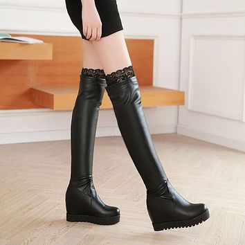 Winter Women Thigh High Boots Wedges Platform Shoes Woman 2016 3492