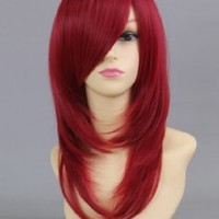 Wine Red 50Cm Long Straight Hair Cosplay Wig