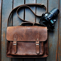 Large leather camera bag / Messenger / Satchel /  Women/Men dark brown leather Camera case Crossbody Travel camera bag DSLR camera case