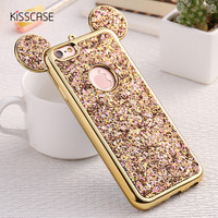 For iPhone 6 6s 3D Cartoon Case Glitter Sequin Mickey Mouse Ear Back Cover For iPhone 7 6 6s Plus 5 5s SE Plating TPU Phone Bag