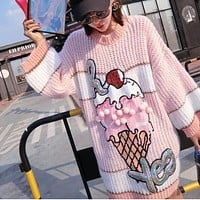 Pink Sequins Ice Cream Knit Sweater 2017 Women Beading Ball Street Pullover Clothing Autumn Clothing LT395S15