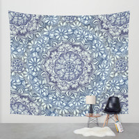 Indigo Medallion with Butterflies & Daisy Chains Wall Tapestry by Micklyn