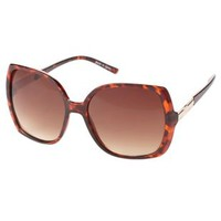 Brown Combo Metal & Plastic Oversized Sunglasses by Charlotte Russe