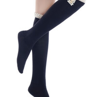 Vintage Style Knee High Sock Solid Color w/Crochet Lace and Buttons