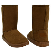 Womens Mid Calf Boots Fur Lined Pull On Winter Comfort Flat Shoes Tan SZ