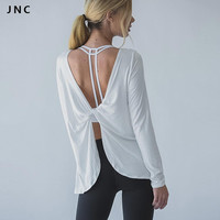 JN Collection 2016 Women Sports T Shirt Yoga Workout Fitness Exercise Running Shirts Sportswear Tee Tank Tops Reverse Drape Top