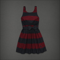 Fall 2012 Abercrombie and Fitch striped burgundy and navy dress with bow