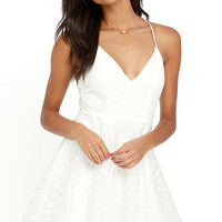 Promise Me Forever White Lace Skater Dress