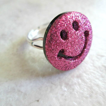 Smiley Face Ring, Sparkly Pink Fuchsia, Adjustable, Symbol Jewelry