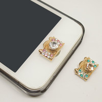 HOT ETSY Black Friday/Cyber Monday 2PCS Bling Crystal Alloy Camera Jewel iPhone Home Button Sticker Charm for iPhone 4,4s,4g,5,5c Lover Gift