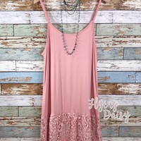 Plus Size Scalloped Lace Extender Dress - Blush