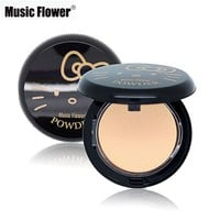 Music Flower Brand Face Makeup Hello Kitty Style Pressed Powder 3 Colors Facial Powder Foundation Whitening Concealer Cosmetics