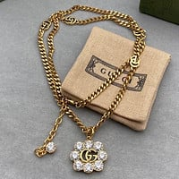 GG New Double G Crystal Diamond Necklace Fashion Antique Gold Chain Double G Necklace