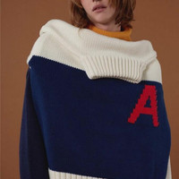 Color Block Letter A Print Long Sleeve Turtle Neck Sweater