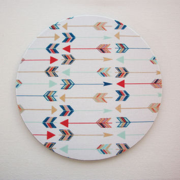Round Computer Mouse Pad / Mat - metallic gold arrows blue red