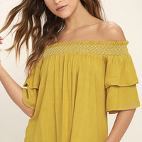 Free to be Me Chartreuse Off-the-Shoulder Top