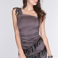 Charcoal Black Fringe Trim Sexy Party Dress @ Amiclubwear sexy dresses,sexy dress,prom dress,summer dress,spring dress,prom gowns,teens dresses,sexy party wear,women's cocktail dresses,ball dresses,sun dresses,trendy dresses,sweater dresses,teen clothing,