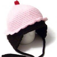 Crochet cupcake hat with ear flaps - Strawberry | Crochetedlittlethings - Accessories on ArtFire