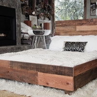 Custom Reclaimed Barn Wood Platform Industrial Bed