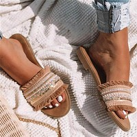 New Hot-selling Large Size 40-43 Women's Flat Bottom Hollow Sandals Beige