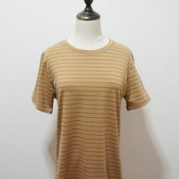 Khaki Striped Short Sleeve Shirt
