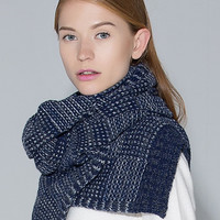 Blue Two-Tone Daily Knit Scarf