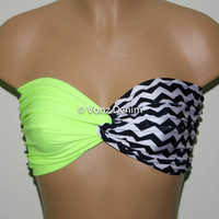 Neon Yellow and Chevron Bandeau Top, Swimwear Bikini Top, Twisted Top Bathing Suits, Spandex Bandeau Bikini