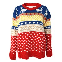 Colorful Christmas Deer and Geometric Striped Jacquard Jumper for Girls