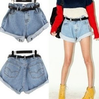 A54 Vintage Lady Denim Shorts Fashion Women's Loose Jeans Shorts Casual Short Pants Summer High-waist Short Women