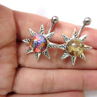 Belly Button Ring Jewelry, Light Opal Starburst Belly Button Ring Navel Piercing Silver Sun Stud Bar Barbell Star Burst Sunburst Belly Butto
